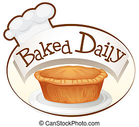 A baked daily label with a cupcake