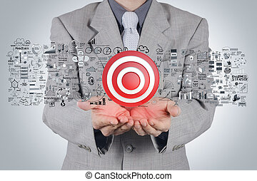 businessman hand 3d target sign and business strategy as...