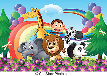 A group of animals at the hilltop with a rainbow and...