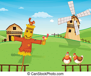 A farm with a scarecrow - Illustration of a farm with a...