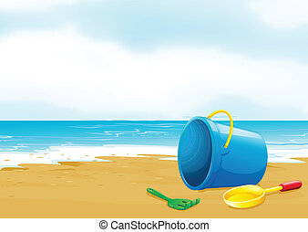 A bucket, fork and shovel at the beach - Illustration of a...