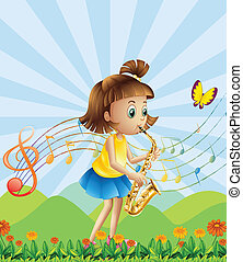 A young lady at the hilltop playing with her saxophone