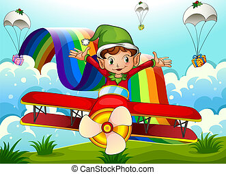 A plane with an elf and a rainbow in the sky with parachutes...