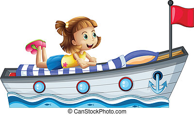 A girl lying above the ship with a red flag - Illustration...