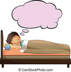 A young boy with an empty thought while sleeping -...