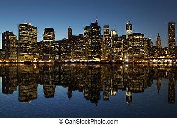 Lower Manhattan at night Reflection ew York City, USA