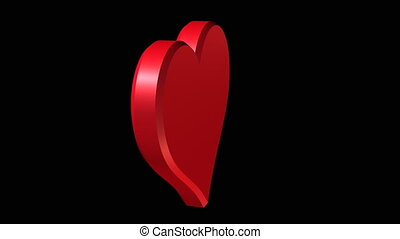 red heart rotation in three dimension