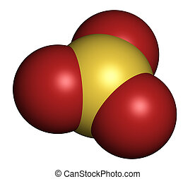 Sulfur trioxide pollutant molecule. Principal agent in acid rain. Atoms are represented as spheres with conventional color coding: sulfur (yellow), oxygen (red).