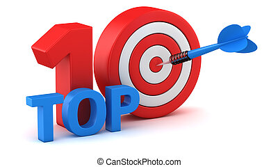 Top 10 - Word Top 10 with dartboard on white background