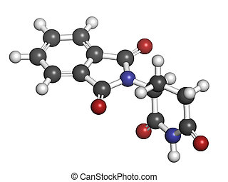 Thalidomide theratogenic drug molecule. Initially used as...