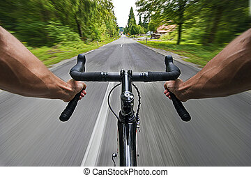 Road cycling wide angle high speed  shoot