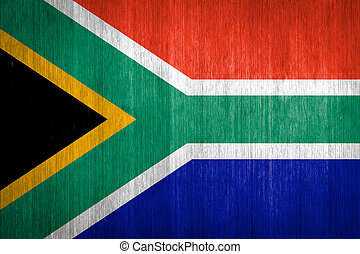 South Africa Flag on wood background