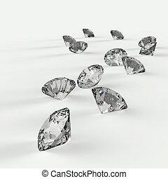 diamantes, 3D, composición