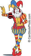Jester taking a bow - Jester in colorful costume taking a...