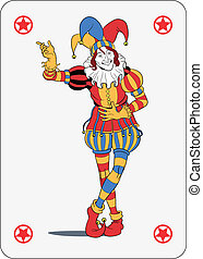 Joker playing card - Joker in colorful costume playing card