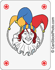 Joker face in a circle playing card