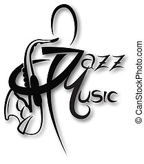 Music icon with jazz music inscription can be use like logo