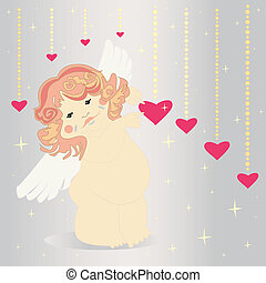 Cute angel and hearts.