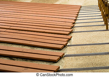 Wooden theater seats - empty wooden outdoor theater seats in...
