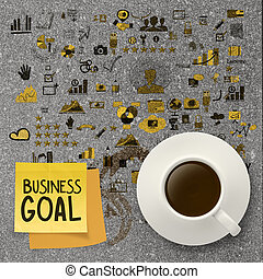 coffee cup with hand drawn business goal strategy on sticky...