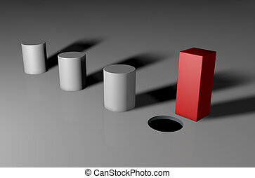 you can't fit a square peg in a round hole - 3d visual of a...