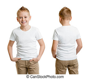 handsome kid boy model in white t-shirt or tshirt back and...