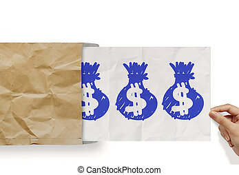hand pull crumpled paper show dollar sign bag out of recycle...