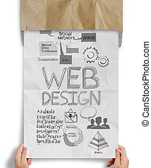 hand holding web design handrawn icons on paper background...