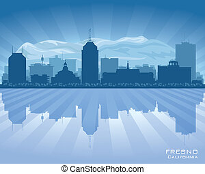 Fresno California city skyline vector silhouette...