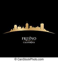 Fresno California city silhouette black background - Fresno...