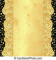 Gold frame with old paper and stars - Golden frame with...