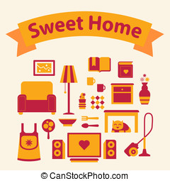 set of icons of a cozy home red and yellow colors