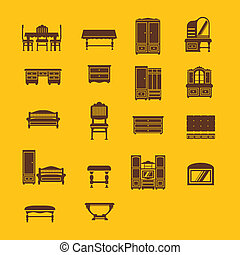 Set of furniture icons from different times