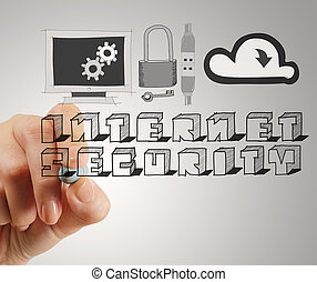 close up of hand drawing Internet security online business...