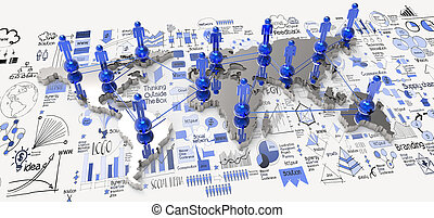 social network 3d on world map and hand drawn business...