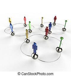 3d colors stainless human social network as concept