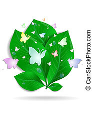 Green leaves with butterflies and waterdrops - Illustration...