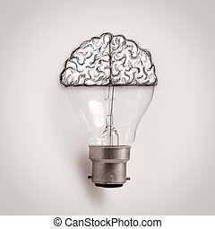 Light bulb with hand drawn brain as creative idea concept