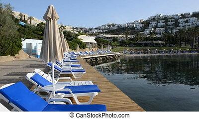 Panning the beach on Turkish resort, Bodrum, Turkey