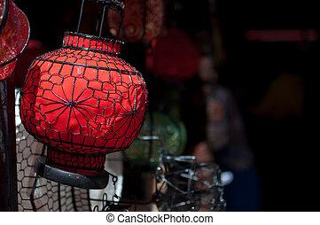 lembrança, Chinês, lanterna, Panjiayuan, pulga,...