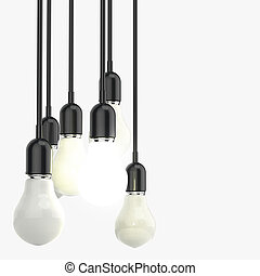 creative idea and leadership concept light bulb on grey...