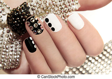 Manicure on short nails. - Manicure on short nails covered...