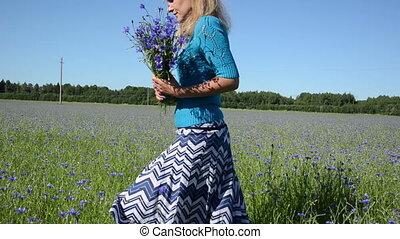 girl pick flowers field