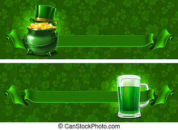 St.Patrick's Day background with beer and wealth. Vector...