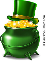 St. Patrick's Day symbols - leprechaun hat and pot of gold....