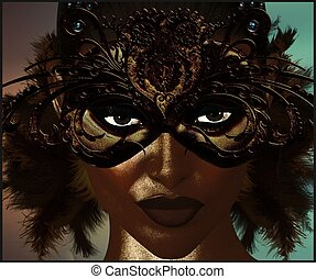 Masquerade mask with feathers. - Masquerade mask with...