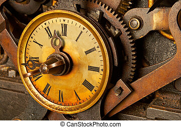 Antique grunge clock - The machinery of old and dirty clock....
