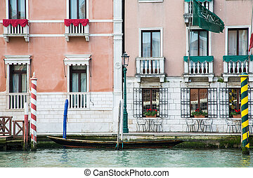 Skiff by Wall in Venice - Small boat by plaster wall in the...