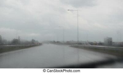 rain water river road car - Rain water river on highway road...