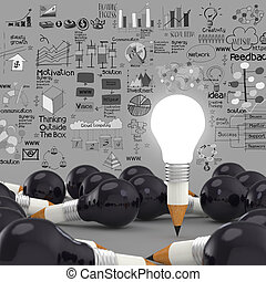 creative design business as pencil lightbulb 3d as business...